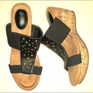 Giani Bernini Black Wedge Sandal Shoe Sz 7